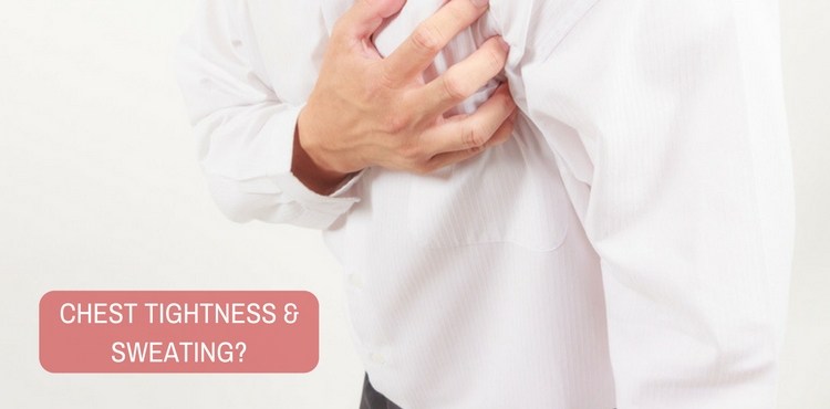 Image: What do the symptoms of chest tightness, sweating and uneasiness suggest?