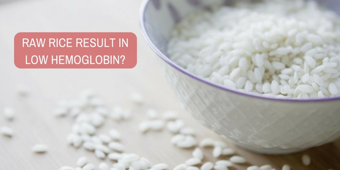 Will eating raw rice result in low hemoglobin?